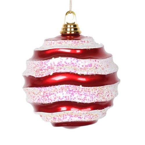 Vickerman M132073 Red White Candy Glitter Wave Ball Ornament - 6 in.