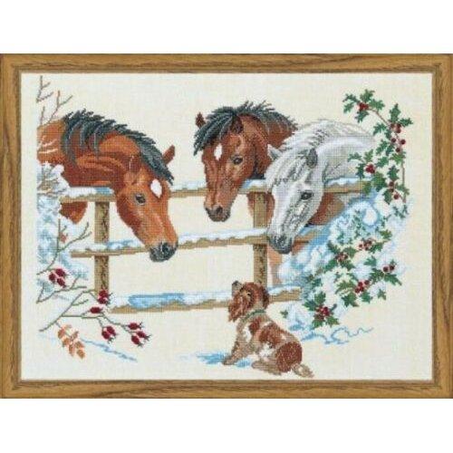 "Horses & Puppy Cross Stitch Kit (Eva Rosenstand 12-741) - 23.5"" x 17.75"""