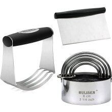 HULISEN Stainless Steel Pastry Scraper, Dough Blender & Biscuit Cutter Set (3 Pieces/ Set), Heavy Duty & Durable with Ergonomic Rubber Grip