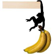 Artori Design Metal Rack - Fruit Stand - Banana Hanger - Multi-Use Decorative Monkey Shaped Hook Hanging from a shelf or a wall niche - Bana