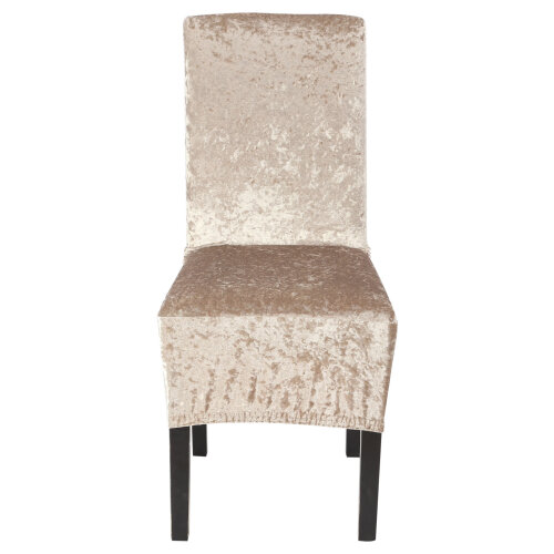 (Light Gold) Crushed Velvet Dining Chair Covers Stretchable Protective Slipcover