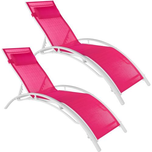 Set of 2 Alina sun loungers - pink