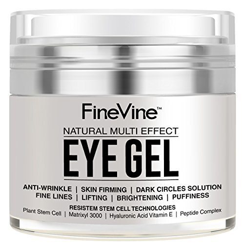 Anti Aging Eye Gel - Made in USA - for Dark Circles, Puffiness, Wrinkles, Bags, Skin Firming, Fine Lines and crows feet - The Best Natural Eye Gel for