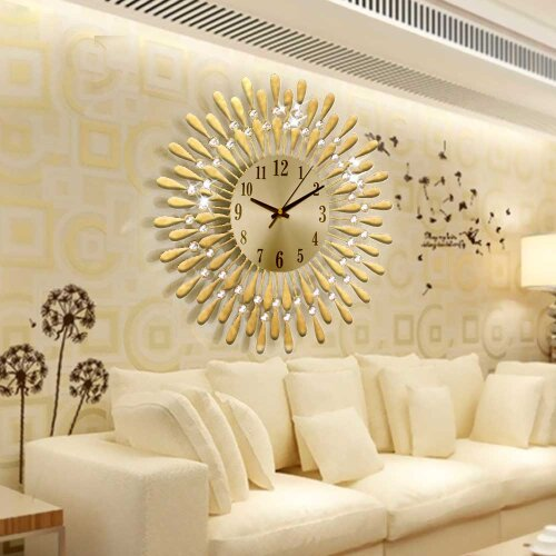 (Gold) 3D Large Diamante Beaded Crystal Jeweled Wall Clock