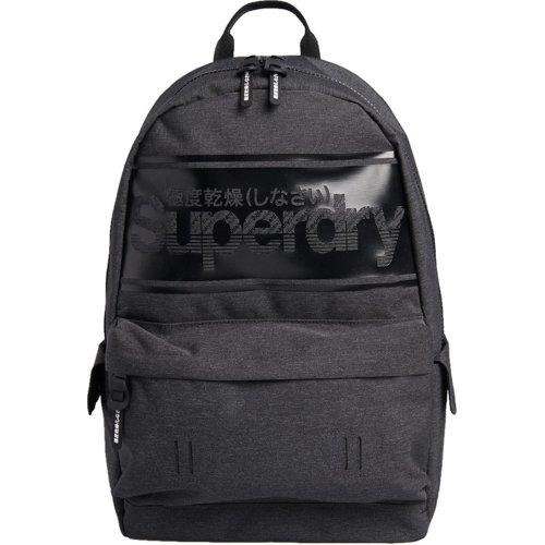 Superdry Stripe Logo Montana Backpack Bag Charcoal Marl