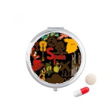 Spain Landscap Animals National Flag Pill Case Pocket Medicine Storage Box Container Dispenser