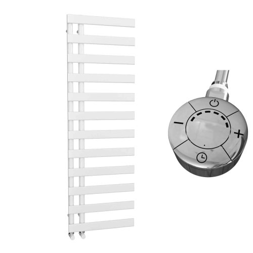 HB Signature Agora Reversible Flat Tube White Designer Heated Towel Rail 1564mm x 500mm Electric Only - Thermostatic