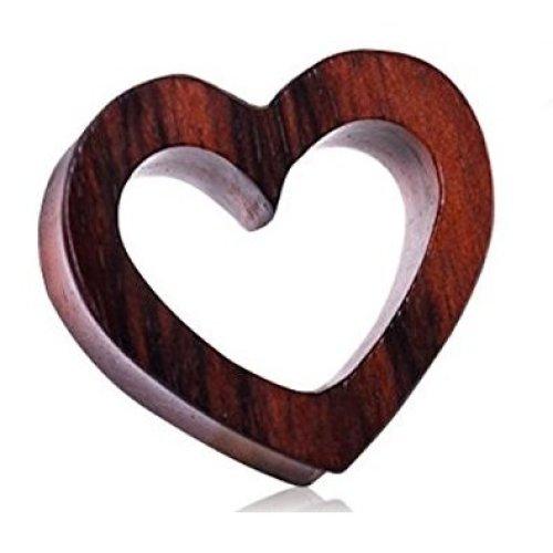 (8MM) Organic Sono Wood Heart Tunnel Plug