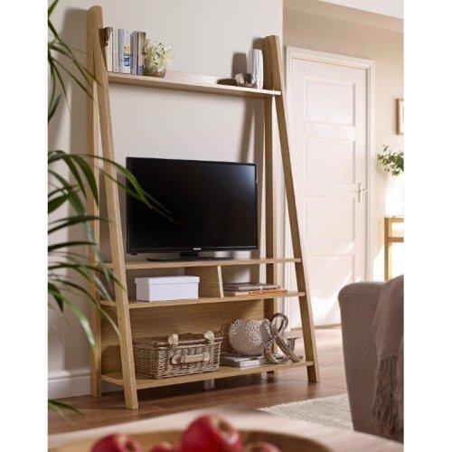 Oak Ladder TV Stand Leaning Media Entertainment Centre Shelving Unit
