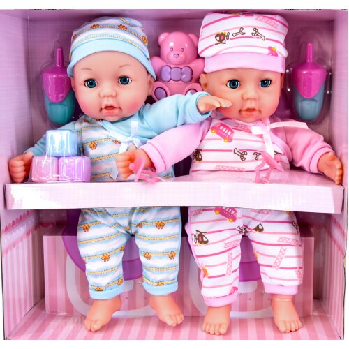 The Magic Toy Shop Twins Baby Girl & Boy Twin Dolls Babies Gift Set Dummy, Accessories