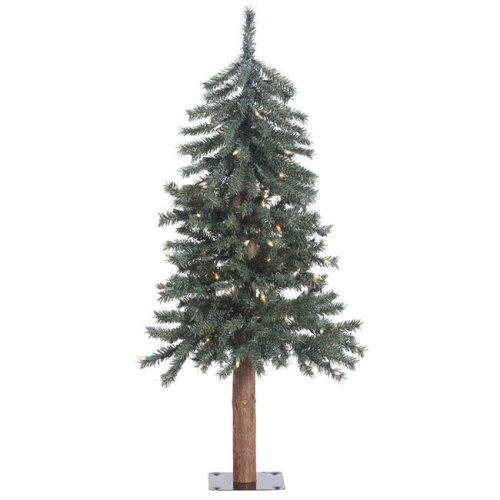 Vickerman B907331LED Natural Bark Dura-Lit Alpine Tree with Warm White LED Lights - 3 ft. x 22.5 in.