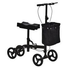 HOMCOM Medical Foldable Steerable Leg Knee Walker Scooter w/Basket - Black