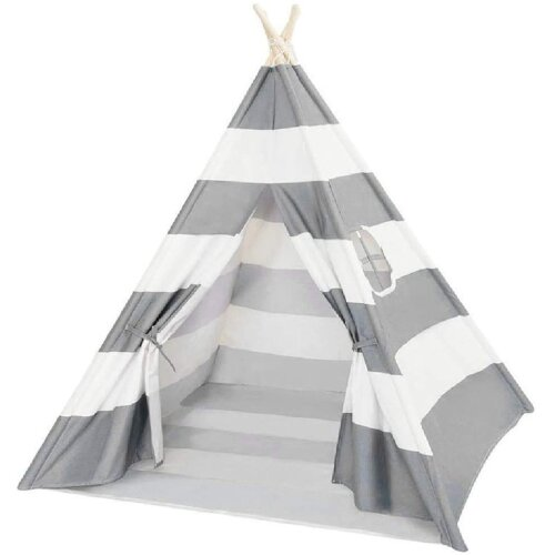 (Grey) Large Cotton Kid's Tent | Folding Wigwam Play Tent