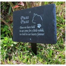 1st 4 Signs Beautiful Natural Slate Pet Cat Memorial 25cm x 18cm Traditional Rustic Finish (Stake not included) - To Purchase Click Customize Now Bu