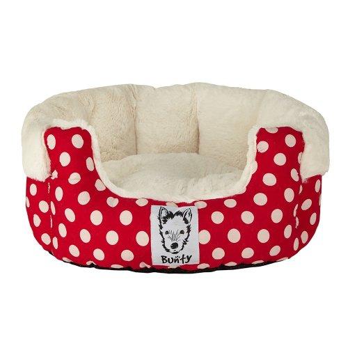 (Large, Red) Bunty Deep Dream Polka Dot Bed | Soft Fleece Dog Bed