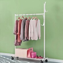 Heavy Duty Metal Clothes Hanging Rail Clothing Coat Stand with Shoe