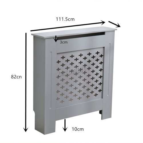 (RC-06, Grey) WestWood Radiator Cover - White Or Grey Wooden Radiator Wall Shelves Cabinet