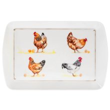 Small Rectangular Melamine Chickens Design Snack Tray Food Drinks Serving Trays