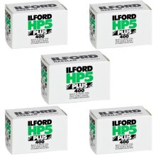 Ilford HP-5 Plus Black and White Film, ISO 400, 35mm, 36 Exposures - 5 Pack