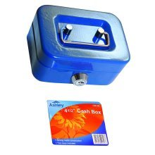 "8"" Inch Small Key Lock Petty Cash / Piggy Bank Money Box Pot Safe Pink Lockable Blue"