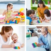 Pop It Square Fidget Toys Push Bubble Stress Relief Kids Tiktok Family Game