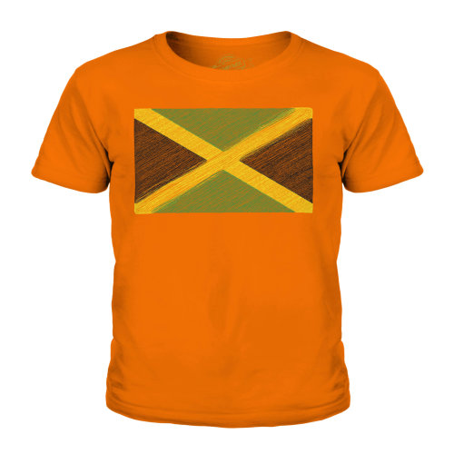 (Orange, 9-10 Years) Candymix - Jamaica Scribble Flag - Unisex Kid's T-Shirt