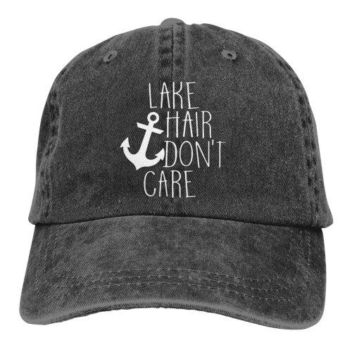 Lake Hair Don't Care Logo Denim Baseball Caps