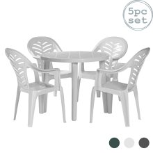Garden Table and Chair Set Resol Tossa Outdoor Dining Table and 4 Chairs White