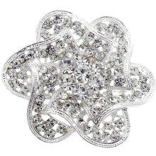 Fantasyard Crystal Flower Wedding Pin - Silver - 2.25 x 2.125 in.