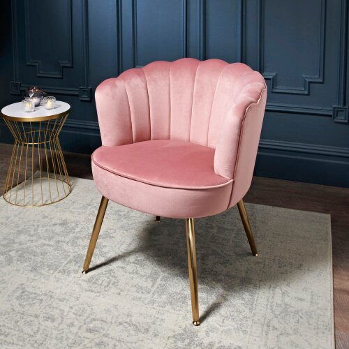 Scallop Accent Occasional Leisure Armchair with gold-finish metal legs-Blush G-358519