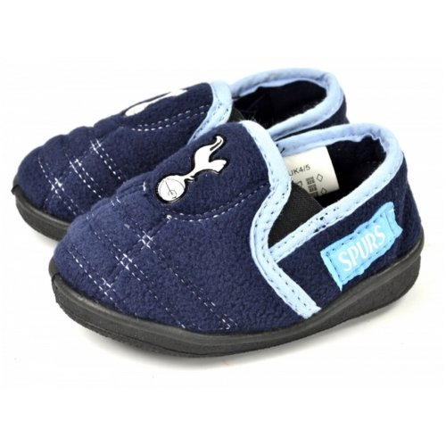 (12-13 UK, Blue) Tottenham Hotspur Childrens Boys Goal Heel Slippers