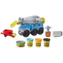 Play-Doh Wheels Cement Truck Toy for Children Aged 3 and Up with Non-Toxic Cement-Coloured Buildin' Compound Plus 3 Colours