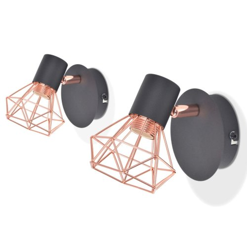 vidaXL 2x Wall Lamp E14 Black and Copper Ceiling Spot Light Lighting Fixture