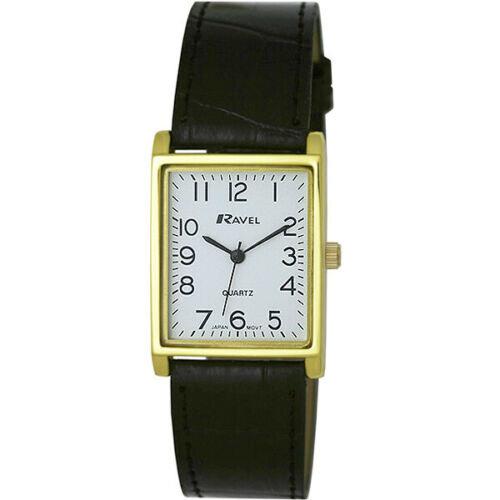 Men's Classic Rectangular Strap Watch - Black / Gold by Ravel R0120.01.1A