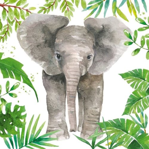 4 x Paper Napkins - Tropical Elephant - Ideal for Decoupage / Napkin Art