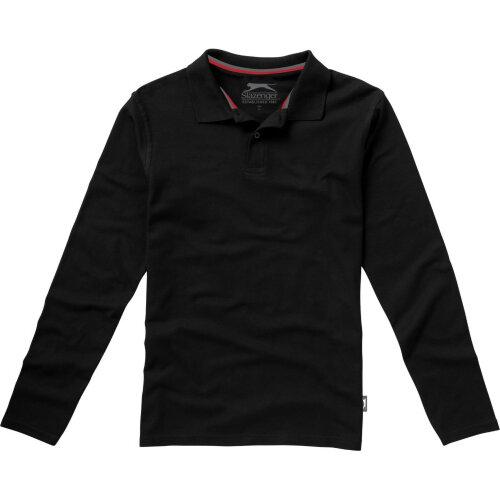 (S, Solid Black) Slazenger Mens Point Long Sleeve Polo Shirt