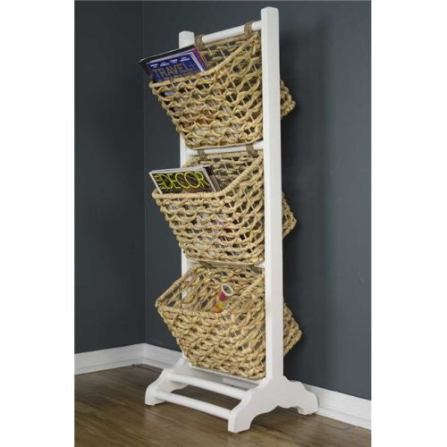 HomeRoots 294598 42.25 x 11.8 x 11.8 in. Vale 3-Tier Magazine Rack with 3 Hyacinth Storage Baskets