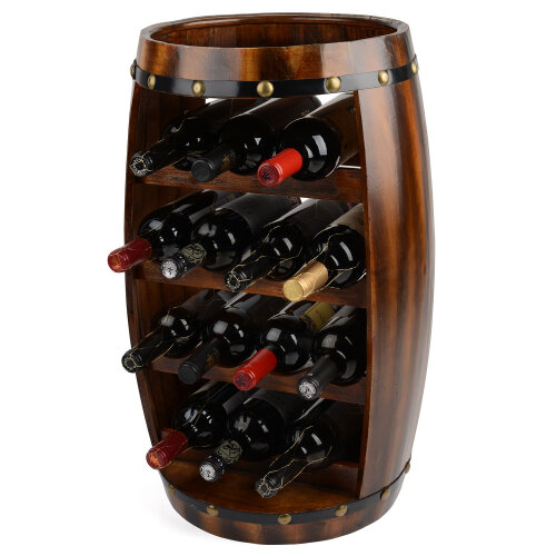 Wooden Barrel Wine Rack Wood Bottle Holder Table Top 8 / 14 Bottles Christow