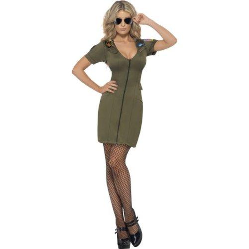 LICENSED TOP GUN PILOT WOMENS ADULT WOMENS 1980S FANCY DRESS HALLOWEEN COSTUME