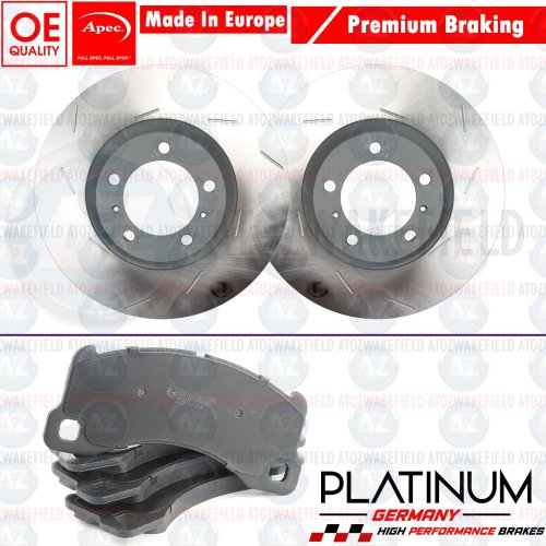 FOR PORSCHE MACAN 3.6 TURBO FRONT GROOVED APEC BRAKE DISCS PLATINUM PADS 360mm