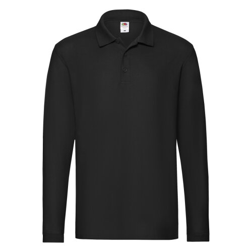 Black  Premium Long Sleeve Polo Fruit Of The Loom Size XL