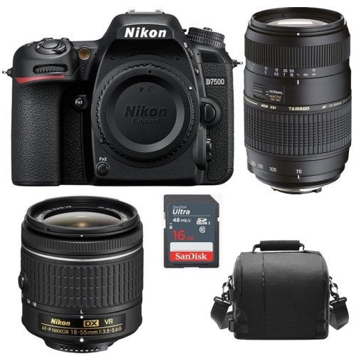 NIKON D7500 KIT AF-P 18-55MM +TAMRON AF70-300mm+Bag+16gb SD card
