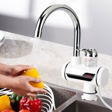 Instant Electric Faucet Tap Under Hot Water Heater LED Display Kitchen