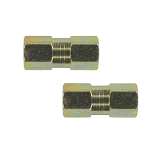 """2 x 2 Way Female Brake Pipe Tube Connectors M10 10mm Suitable For 3/16"""" Pipe"""