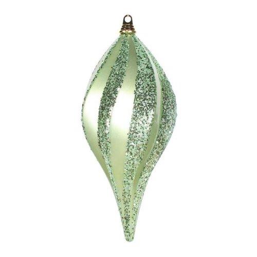 Vickerman M132554 Celadon Green Candy Glitter Swirl Drop Ornament - 8 in.