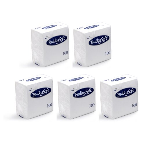 500 PCS (100 PCS X 5 PK) BULKY SOFT WHITE TISSUES 2 PLY PAPER NAPKINS 24CM X 24CM RESTAURANT CATERING PARTY TABLEWARE