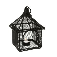 Black Metal Mesh House Hanging Candle Lantern Home Carden Outdoor Patio Candle Lantern