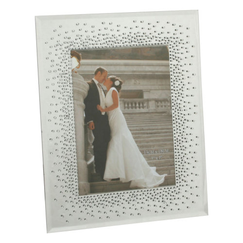 "Wedding Mirror Glass Photo Frame with Glitter Starburst Boarder 5/"" x 7/"""