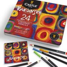 Castle Art Supplies 24 Coloured Pencil Set Tin Box | Perfect Kandinsky Inspired Colours