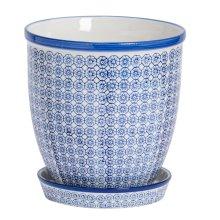 Plant Flower Pot & Drip Tray Ceramic Porcelain Indoor Outdoor - Blue Print
